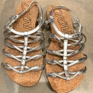 DKNY Silver metallic leather gladiator sandals